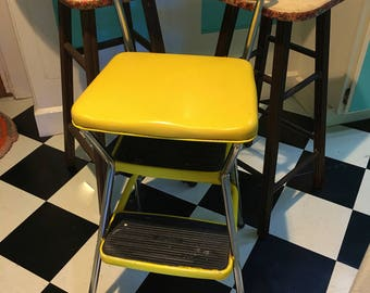 Vintage 1970s Bright Yellow Retro Kitchen Work Stool Seat Step Ladder Unit Made of Chrome Plated & Cosco step stool | Etsy islam-shia.org