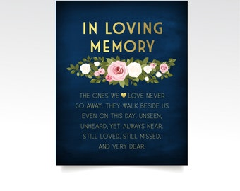 The FRANKIE . In Loving Memory . Printed Wedding Sign or PDF . Gold & Navy Chalkboard White Blush Pink Rose Green Garland . Remembrance Sign