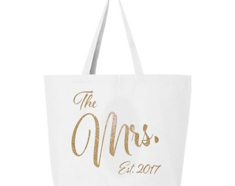 Mrs. Tote Bag, Jumbo Mrs Tote Bag, Bridal Shower Gift, Bride carry all, Mrs bag, Just Married Tote, Honeymoon tote bag, bride gift idea, bag