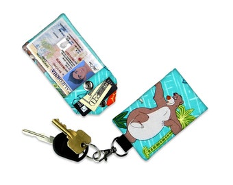 Disney The Jungle Book Baloo Mini Wallet Card Holder Keychain with Clear ID Card Holder Tag Student ID Badge Credit Small Wallet Cartoon