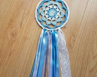 """Blue Dreamcatcher, 6"""" inch White and Blue, Wall Hanging, Mandala, Ribbon, Dreams, Bedroom Decor, Nursery, Baby Shower Gift, Crocheted,"""