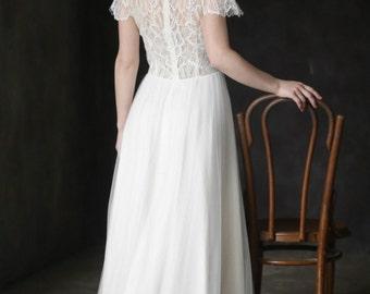 Custom dress, Lace short sleeve wedding dress, Romantic wedding dress, Alternative wedding dress, 0113 // 2017