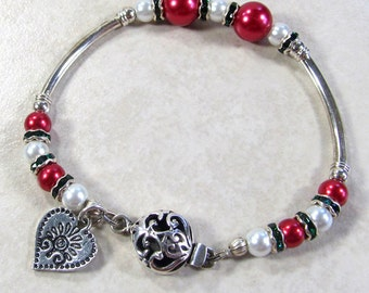 Red Glass Pearls & Silver Tubes Valentine Bracelet, Romantic Valentine Jewelry For Her, Red and Silver Jewelry, February Bracelets