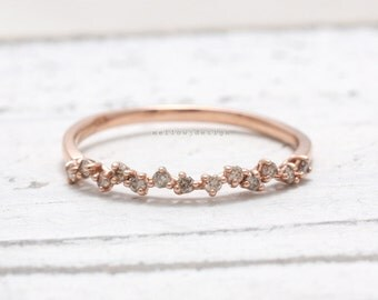 Genuine Cognac Diamonds Zigzag Prong Setting Thin Band Solid Gold Ring, Champagne Diamonds Ring