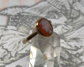 Antique Victorian 9ct 9k Carnelian Cameo Ring, Full Birmingham Hallmarks 1864