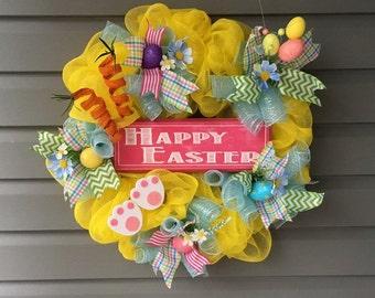 Easter Wreath For Front Door, Spring Wreath, Easter Mesh Wreath, Deco Mesh Wreath, Easter Wreath, Bunny Wreath, Yellow Easter Wreath