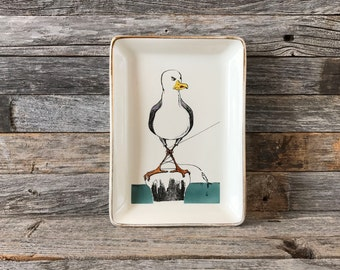 Vintage Delano Studios Angry Seagull Dish, Ceramic Trinket Dish, Ceramic Catchall