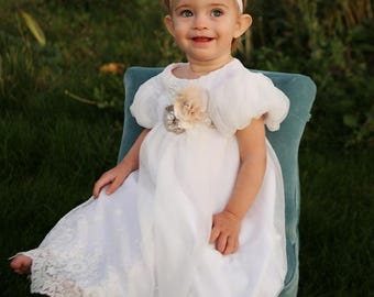 lace blessing dress - white - blessing dress - baptism dress - christening dress - baby dress 0-18 months - Ingrid dress
