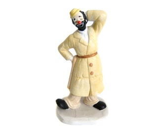 Hobo Clown Figurine, Ceramic Clown, Flambro Circus World Museum Figure, Vintage Hobo Figurine