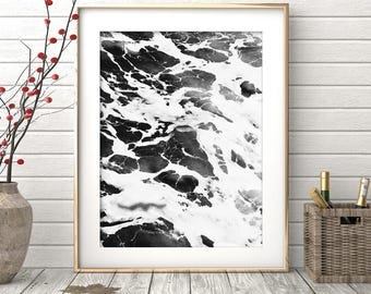 Ocean Print, Beach Wall Art, Black and White Prints, Ocean Wall Art, Large Poster, Beach Photography, Ocean Wave, Beach Print, Water Print