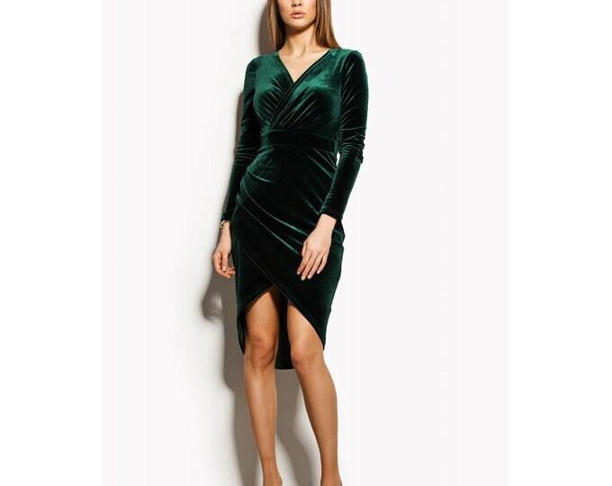 Green Velvet Wrap Dress, Long Sleeve Dress, Green Dress, Sexy Dress, Cocktail Dress, Long Sleeve Dress, Evening Dress, Party Dress