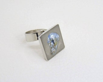 Concrete shell mother of Pearl - statement ring - ring