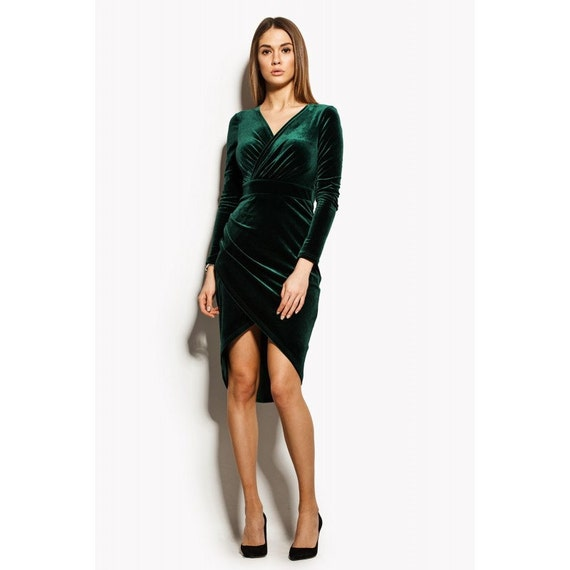 Green Velvet Wrap Dress, Long Sleeve Dress, Green Dress, Sexy Red Dress, Cocktail Dress, Long Sleeve Dress, Evening Dress, Party Dress