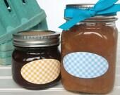 Checkered oval canning jar labels, quilted jar labels, pastel oval mason jar labels for food preservation, jam jelly jar labels