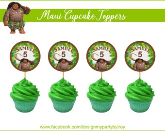 12 MAUI CUPCAKE TOPPERS, Custom Cupcake Toppers, Digital Cupcake Toppers, Moana, Moana Party Decor, Maui Party Decoration,Instant Download.