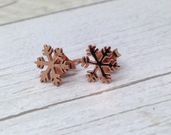 Sterling Silver rose gold plated Snowflake Earrings, Xmas gifts, Xmas jewellery, Xmas jewelry, silver studs, rose gold stud