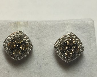Affinity Chocolate Champagne Diamond earrings sterling silver