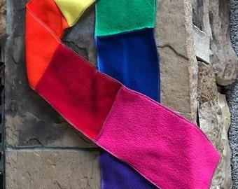 Rainbow Fleece Scarf Rainbow Scarf Pride Scarf Patchwork Scarf