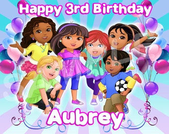 Dora and Friends In the City Edible Cake Image Topper on Frosting and Icing Sheets