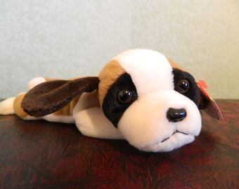 "TY Tan And Brown St Bernard  Dog Beanie Baby ""Bernie"" (B)"