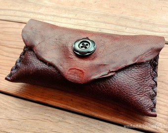Handmade Upcycled Deerskin Leather Small Clutch Pouch Purse with Wooden Flower Button