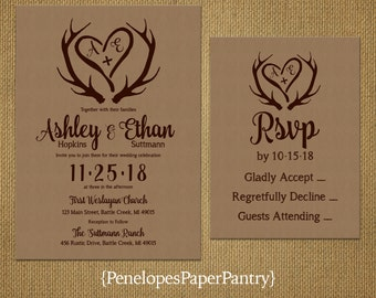 Rustic Kraft Paper Wedding Invitation,Antlers,Heart With Initials,Brown Text,Rustic,Customize,Printed Invitation,Opt RSVP,Kraft Envelope