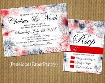 4th of July Summer Wedding InvitationColorful Firework