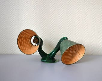 Vintage sconce 50s / Green ceramic lamp and perforated cardboard lampshade