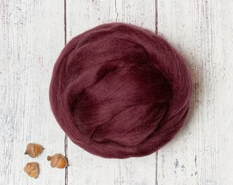 Burgundy 1 oz Ethical Merino Wool Roving Top Sliver Fiber for Felting and Spinning, Maroon, from Non-mulesed Sheep