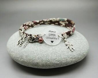"""bracelet liberty marron cabochon """"Mamie super chouette"""" love personnalisable"""