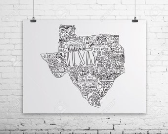 Texas Print- Hand Lettered Texas Print- Hand Lettered State Print- Texas State Print- 8x10 Print- Texas Colleges Print- Christmas Gift