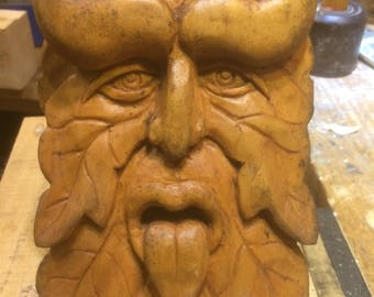 Green Man/Devilish type carving