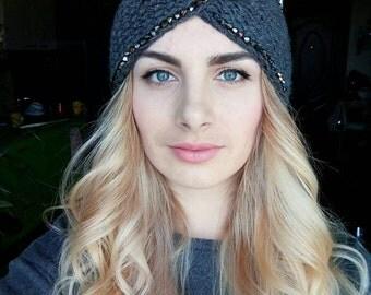 Rhinestones headband, embellished ear warmers, headwrap with beaded applique, knitted headband