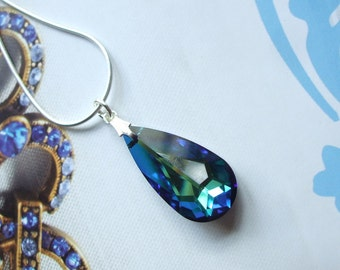 Blue Swarovski Crystal Necklace, Sterling Silver blue pendant Necklace, Bermuda Swarovski crystal Royal blue necklace Swarovski Jewelry gift