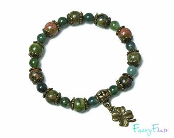 Ladies Moss Agate and Unakite Bracelet for Prosperity and Abundance - Lucky Charm Four Leaf Clover Real Gemstones Crystal Healing Yoga Gift