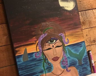Original Acrylic Canvas Painting, Third eye mermaid