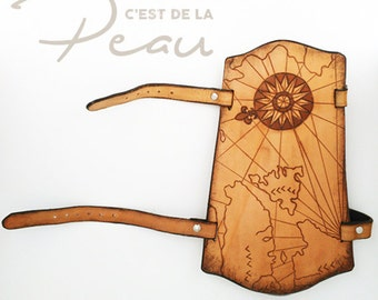 Geographic map archery leather arm guard with adjustable straps