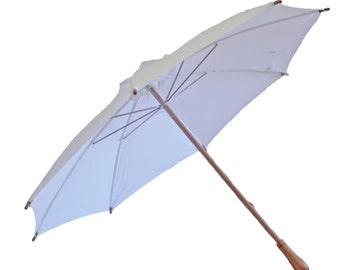Sun Umbrella UV Parasol. White cotton Anti UV umbrella with wooden handle. Sunbella Duchess sun parasol. Blocks 98%+ UV rays. SD15WNL
