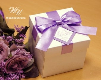 Elegant Lavender Wedding Gift Boxes with satin ribbon, bow and tag - Custom personalized weddings favors for guests with your names