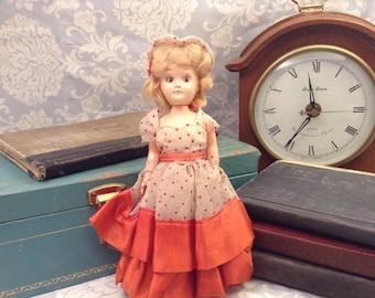 Beautiful Vintage Blonde Hair Doll with Orange Polka Dot Dress