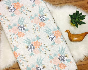 Custom Baby Bedding//Mojave Blooms //Cactus//Floral// Changing Pad Cover