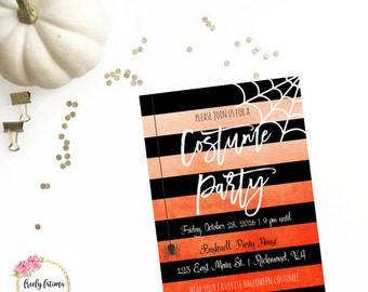 Costume Party Invitation Printable Black Orange Halloween  Spider Spider web