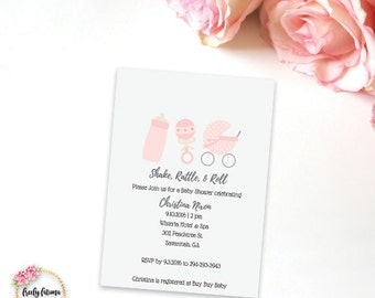 Shake Rattle and Roll - Baby Shower Invitation  - Boy or Girl Pink or Blue - Printable Invitation - Printable Invitation