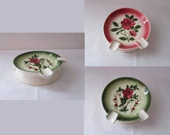 17-0516 Vintage 1940's Dual Sided Ashtray / Made in Japan / Ceramic Ashtray / Floral Ashtray / Glazed Ceramic Ashtray / American Vintage