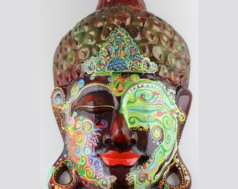 Hand Carved and hand painted Buddha mask - Detailed painted wooden Buddha face - Red