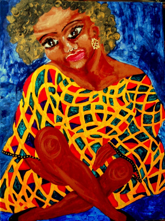 """Acrylic Painting Afrocentric Woman, 24 x 18"""" Canvas , """"Aurelie"""" Ethnic Folk Art  by African American Artist Stacey Torres"""