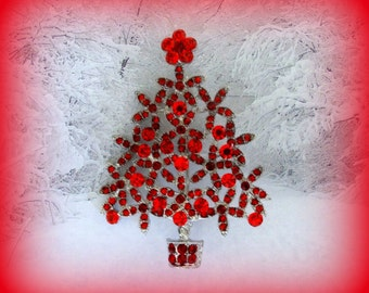 Christmas Tree Pin Etsy - Red Christmas Tree For Sale