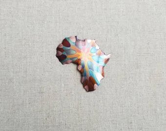 Flame painted copper Africa, pin