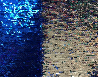 Royal Blue Silver 2 Tone Reversible Mermaid Sequin Spandex Fabric - BTY