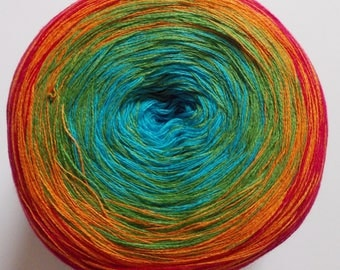 "gradient yarn 200g (8,48Euro/100g), colour change, ""Bobbel Cotton"", 4ply, running length 800m, lace yarn, rainbow red orange green blue (16)"